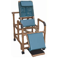 MJM Wood Tone Reclining Shower Chair
