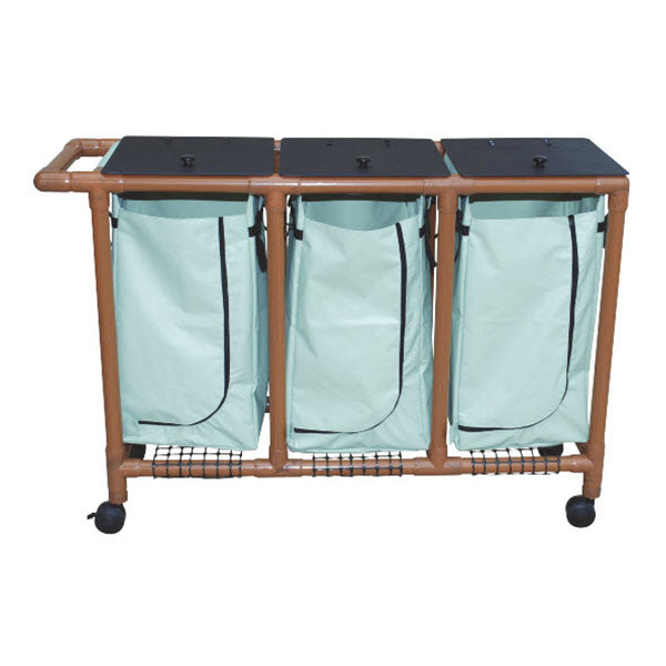 MJM Wood Tone Triple Bag Laundry Hamper