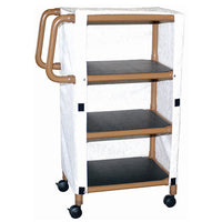 MJM Wood Tone Three-Shelf Mini-Linen Cart with Cover