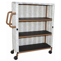 "MJM Wood Tone Three-Shelf Linen Cart with Four"" Casters"