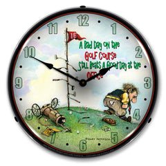 "Bad Day on the Golf Course 14"" LED Wall Clock"
