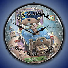 "Life is Simple Eat-Seep-Golf 14"" LED Wall Clock"