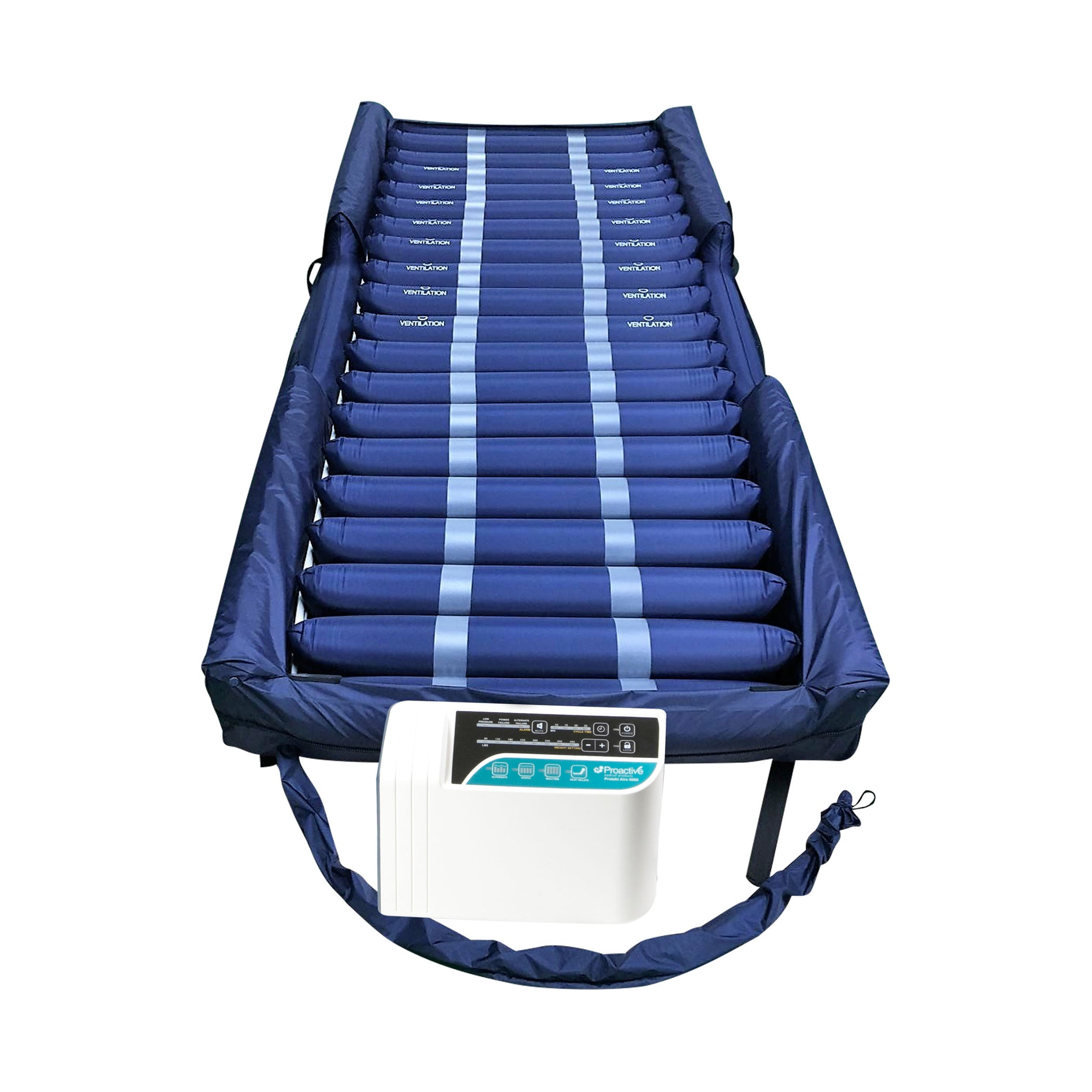"Proactive Protekt® Aire 6000AB Low Air Loss/Alternating Pressure Mattress System with Deluxe Digital Pump, ""Raised Side  Air Bolsters"" and Cell-On-Cell Support Base"