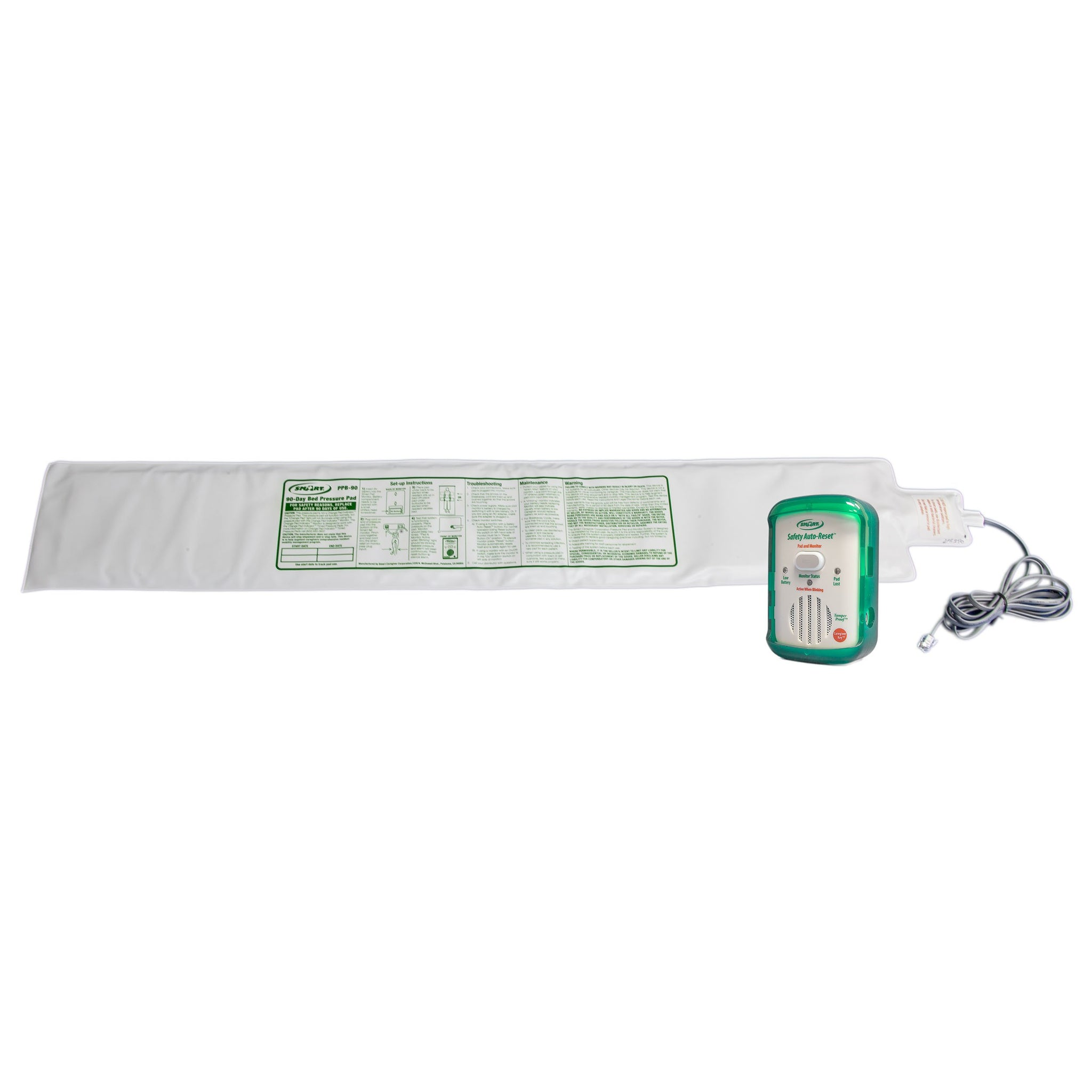 Smart Caregiver FallGuard Safety Auto-Reset Monitor with Weight-Sensing Bed Pad System