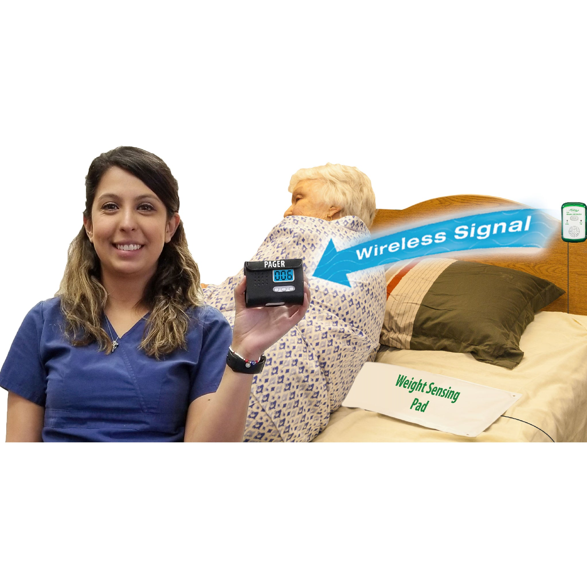 Smart Caregiver Quiet Fall Monitor with Wireless Signal to Pager