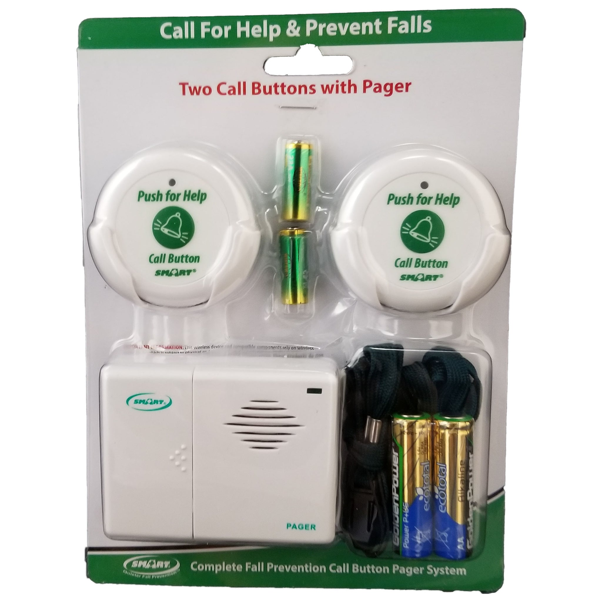 Smart Caregiver Two Call Buttons with Caregiver Pager System