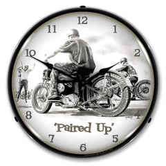 "Paired Up Motorcycle 14"" LED Wall Clock"