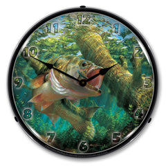"Fishing the Wood 14"" LED Wall Clock"