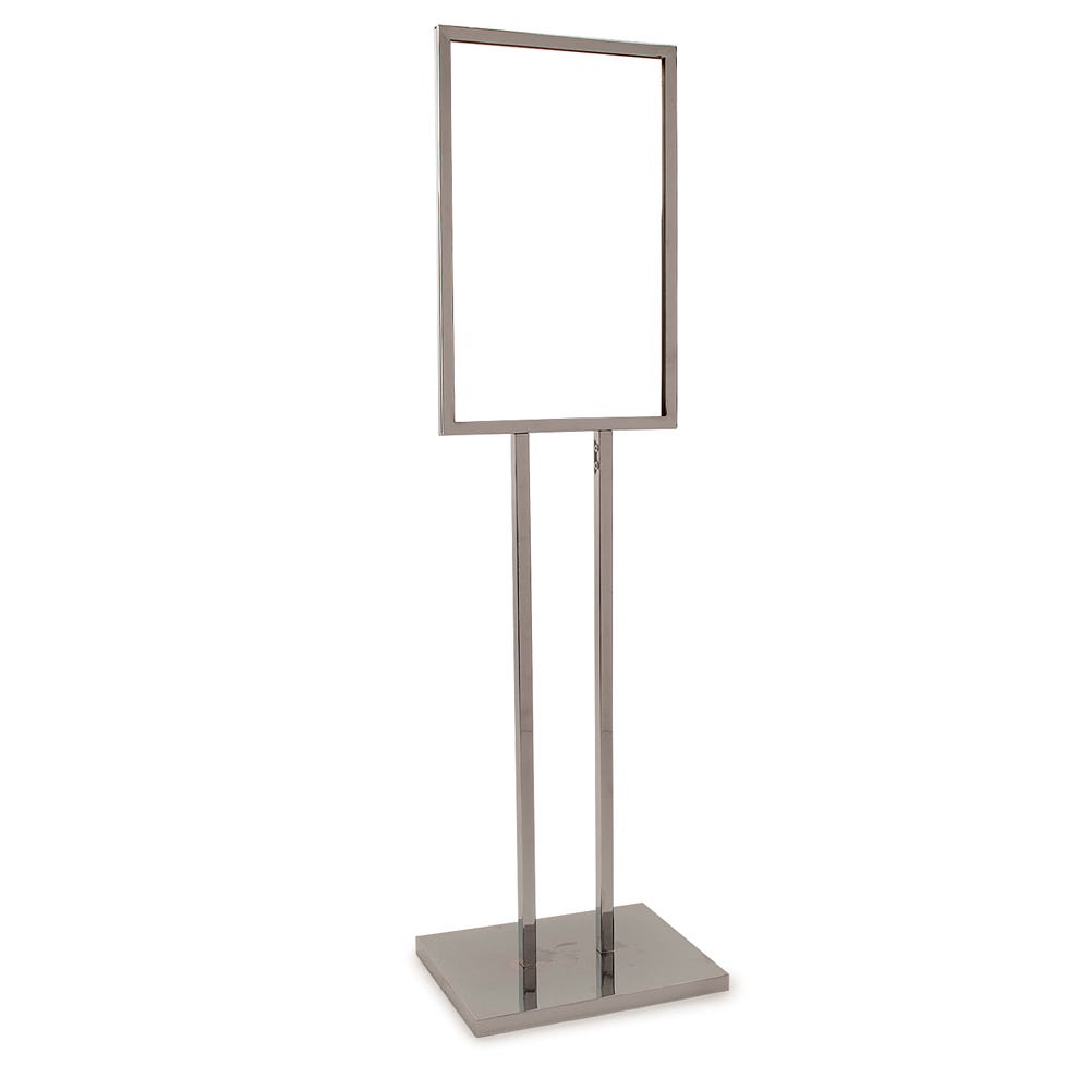 "Econoco 14"" X 22"" Bulletin Sign Holder W/ Extra-Heavy Raised Base - Chrome"