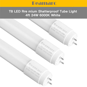 LED T8 Light Tube 4FT, Super Bright White 6000K, Dual-End Powered Ballast Bypass, 2400 Lumen 24W (60W Equivalent) Frosted Cove