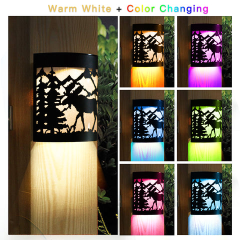 Pack of 2 LED Solar Powered Color Changing Mount Night Light Outdoor waterproof Landscape Garden Yard Fence (Dear)