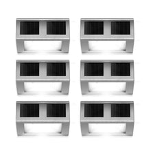 Outdoor Solar Powered LED Stainless Wall Light Step Light for Patio, Deck, Yard, Garden Fence Roof Gutter Sun Power Smart Security Light(6-Pack)