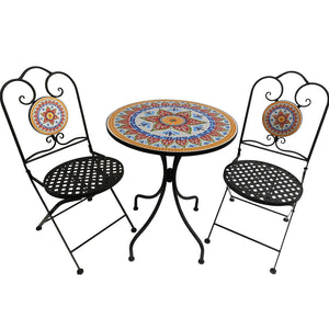Kanstar 3 Piece Outdoor Bistro Set, Premium Steel Patio Table and Chair Bistro Set