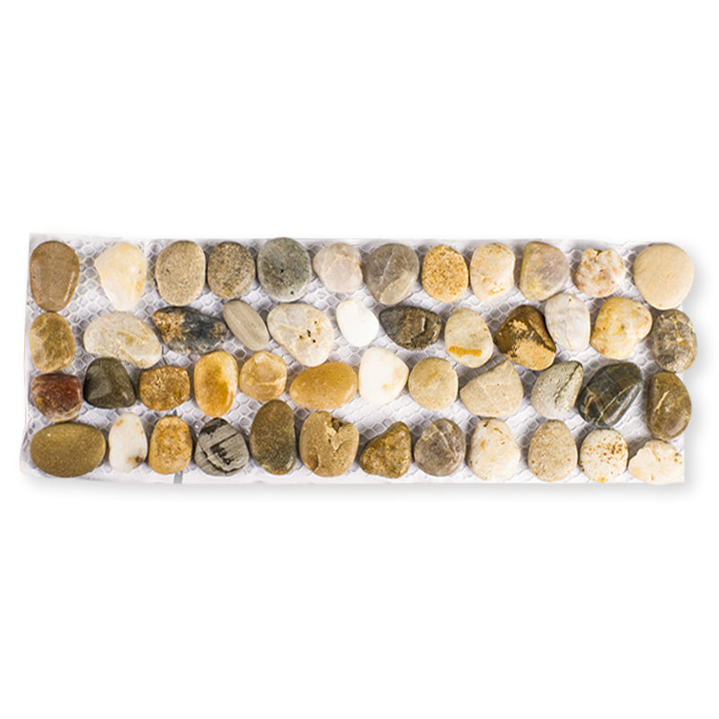 Polished Cobblestone Pebble Tile for Walls, Floors, Garden, Yards (1 box with 6x 4.5''x11'' hexagon pieces)