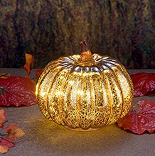 "Mercury Glass 5.5"" Battery Operated LED Pumpkin Lights with Timer- Gold"
