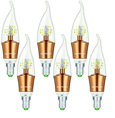 LED Candelabra Bulb,DSW Mode 3 Illuminating Colors Setting E12 Decorative Candle LED Light Bulbs 30W Equivalent for Kitchen, Bedroom, Living Room - 6 Pack
