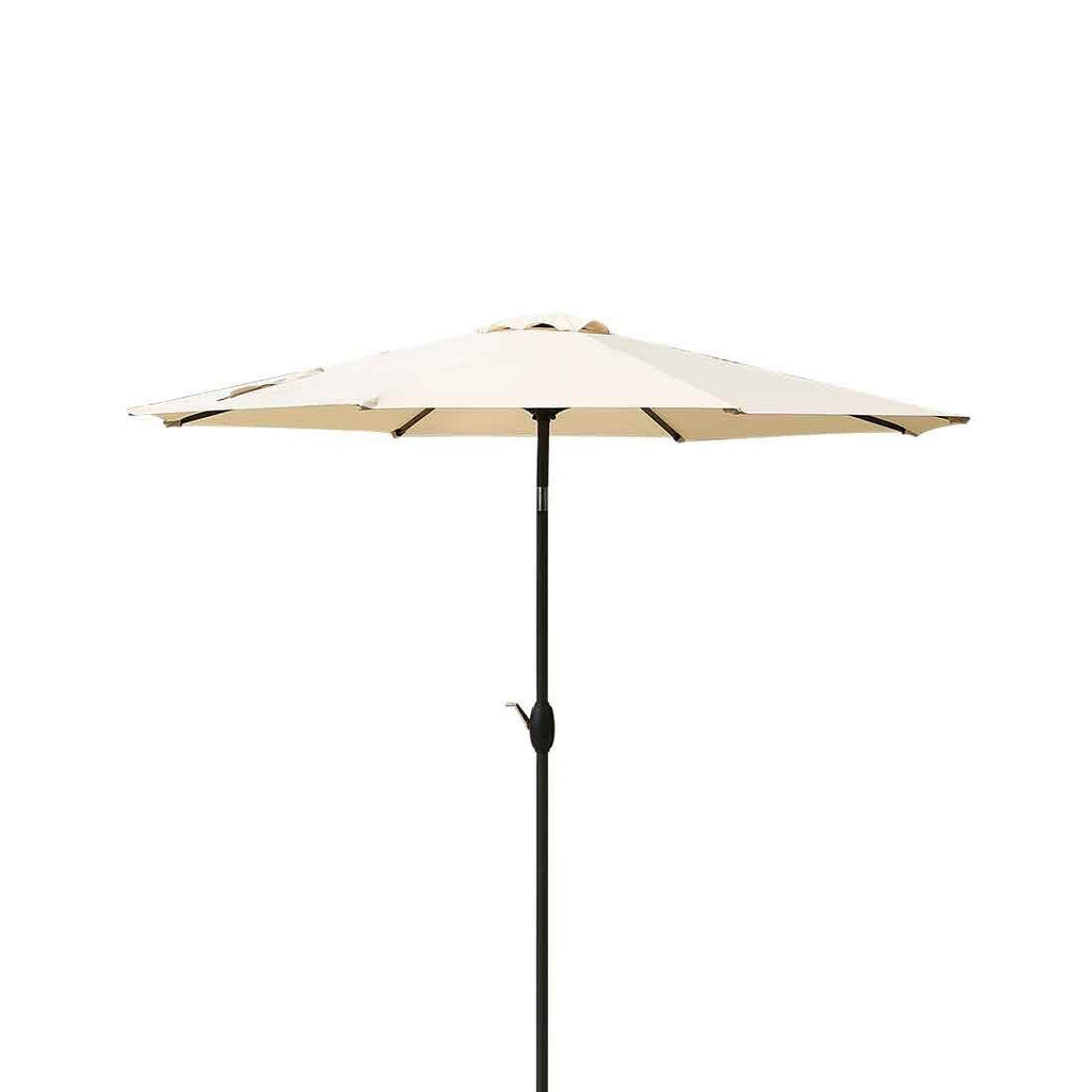 Patio Umbrella 9 Ft Aluminum Outdoor Table Market Umbrellas With Push Button Tilt and Crank, Safety Bolt,8 Ribs (Beige)