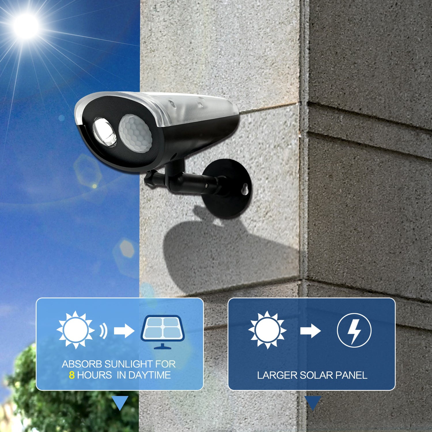 LED Solar Light, Outdoor Motion Sensor Light, Wireless, Waterproof