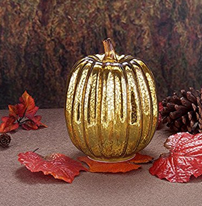 "Mercury Glass 7.7"" Battery Operated LED Pumpkin Lights with Timer, Good for Holiday Decoration(Gold)"