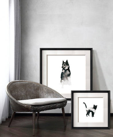 Kanstar Modern Black and White Cat Drawing Wall Art, Black Frame, 18.5''x18.5''
