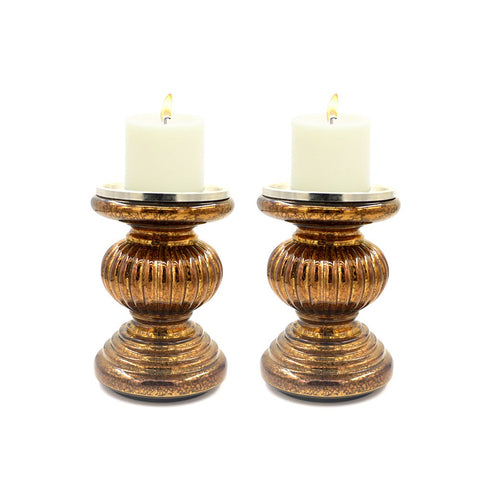 "S/2 Lit Candle Holder Pedestals, 5.3"" Handmade Festive Ribbed Mercury Glass Pillar Candle Stand Holder with Micro LED Lights - Home Decor Accessories-Coffee"