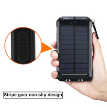 Solar Charger,8000mAh Solar Power Bank Portable External Backup Battery Pack Dual USB Solar Phone Charger with 2LED Light Carabiner and Compass for Smartphones