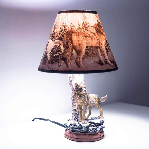 Kids Table Lamps for Bedrooms, Nursery Animals Thematic Hand Painted, Decor Night Light Gift (Wolf)