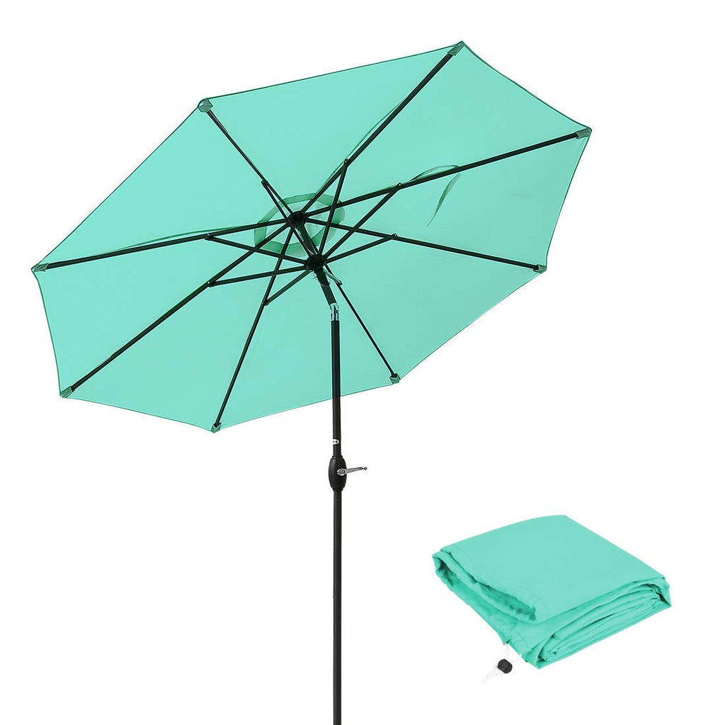 Umbrella 9 Ft Aluminum Outdoor Table Market Umbrellas With Push Button Tilt and Crank, Safety Bolt,8 Ribs (Turquoise)