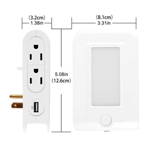 USB Charger Outlet, High Speed USB Wall Outlet, LED Sensor Night Light Socket Extender with 4 AC Outlet Dual USB Charging Port Phone Holder for iPhone iPad, Samsung, Kindle, Blackberry, Power Bank