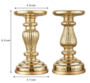 "Mercury Glass 8.5"" Lit Pillar Candle Holder with Timer- Gold(set of 2)"