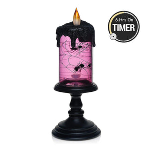 Halloween Tornado LED Lighting Flameless Candle, Battery Operated Table Centerpiece for Home and Party-Spider