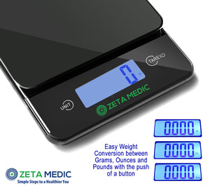 Digital Kitchen and Food Scale - Cooking and Portion Control With Precision Made Easy - Up to 11lb/5kg - Slim Design, Large Stainless Steel Platform and Bright LCD Display Batteries Included