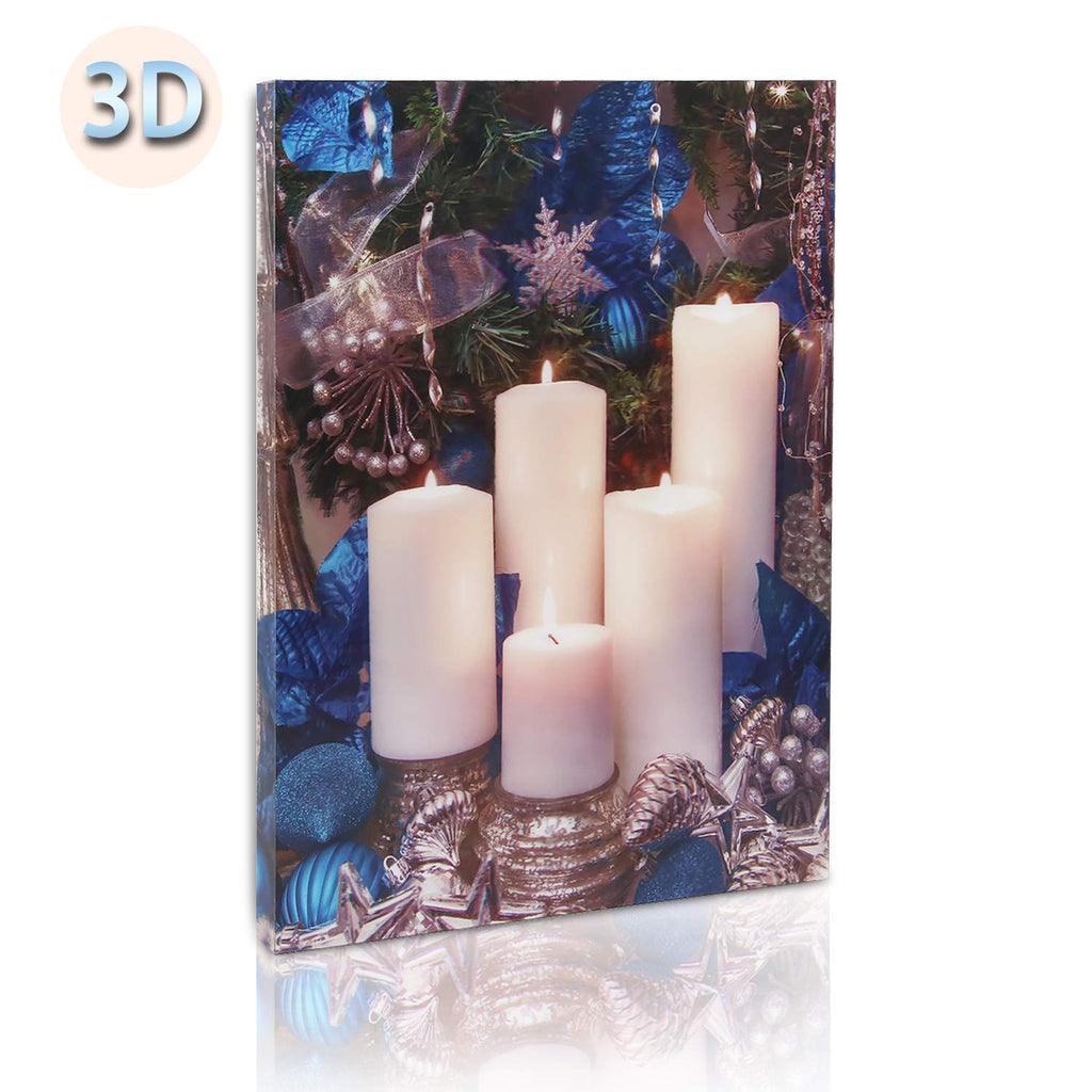 Kanstar 3D Christmas Pattern Decor Wall Art with Led Lights-Candle Light up Pictures for Kitchen Art, for Christmas Decor,Thanksgiving Decorations for Home(12x16'')