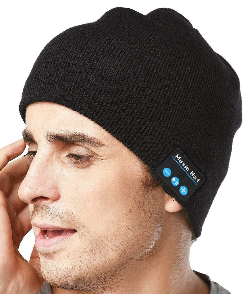 Upgraded Unisex Knit Bluetooth Beanie Hat Headphones V4.2 Unique Christmas Tech Gifts for Men/Dad/Women/Mom/Teen Boys/Girls Stocking Stuffer w/Built-in Stereo Speakers (Black)