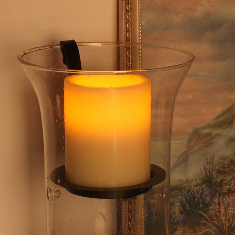 Hurricane Glass Candle Holder, 12x8x6, Lantern,with Rustic Metal Plate Insert