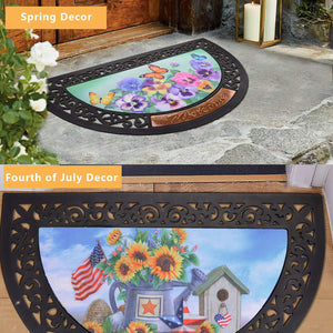 Interchangeable Doormat, 6 PCS Seasons Doormat, Welcome Doormat Easy-to-Clean, Indoor/Outdoor Door Rug for Spring, Fourth of July, Halloween, Thanksgiving Day, Christmas