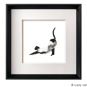 Kanstar Modern Black and White Lazy Cat Drawing Wall Art, Black Frame, 18.5''x18.5''