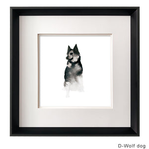 Kanstar Modern Black and White Wolf Dog Drawing Wall Art, Black Frame, 18.5''x18.5''
