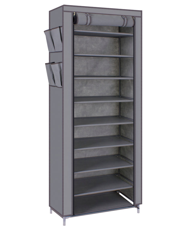 Kanstar 10-Tier Shoe Tower Rack with Cover 27-Pair Space Saving Shoe Storage Organizer Grey