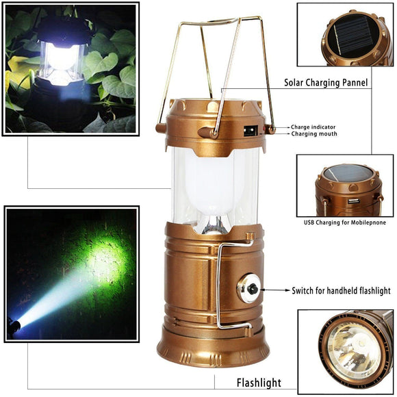 Solar Powered LED Camping Lantern & Handheld Flashlight
