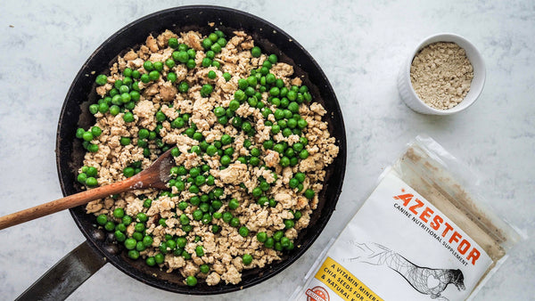 cooking for dogs combine peas with cooked chicken