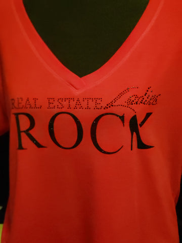 """RED"" Holiday Sale - Real Estate Ladies Rock Shirt"