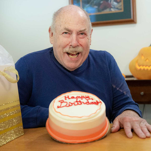 Pictured is Howard, who enjoys a good marble cake when celebrating his birthday.