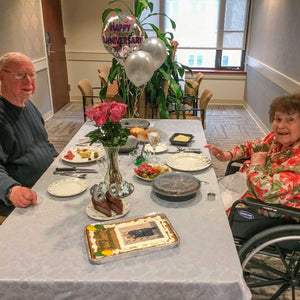 Pictured are Sherry, a former patient, and Bill enjoying a special meal to celebrate their 60th anniversary.