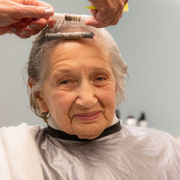 Pictured is Margaret, who enjoys getting her hair permed every couple months.