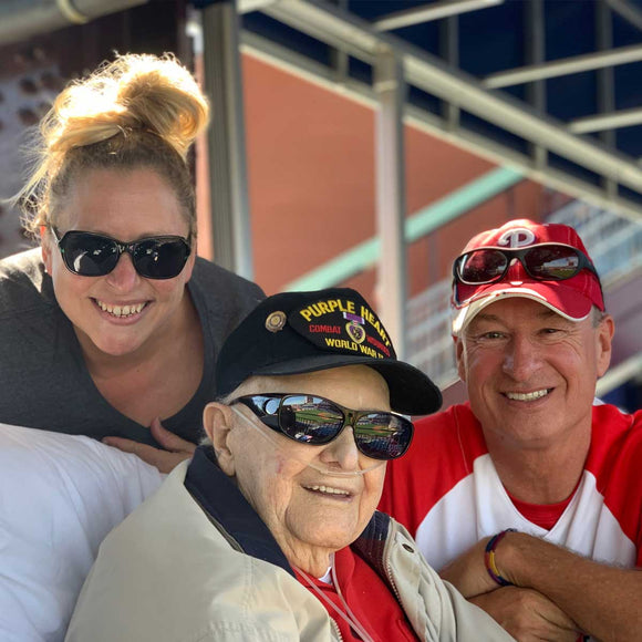 Pictured is Marty, a lifelong Phillies fan, who traveled to Citizens Bank Park for a game with hospice staff, Bethann and Kevin (pictured).