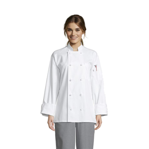 Uncommon Threads Knot Chefs Coat Large White Unisex 65/35 Poly/Cotton Twill