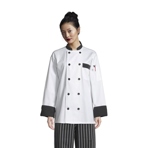 Uncommon Threads Chef Coat Large White w/ Black Trim Unisex 65/35 Poly/Cotton Twill