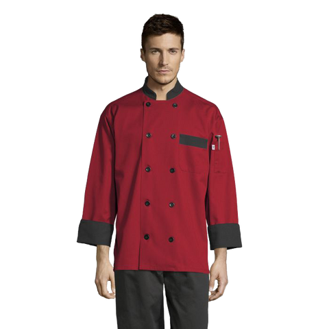 Uncommon Threads Chef Coat Large Red w/ Black Trim Unisex 65/35 Poly/Cotton Twill