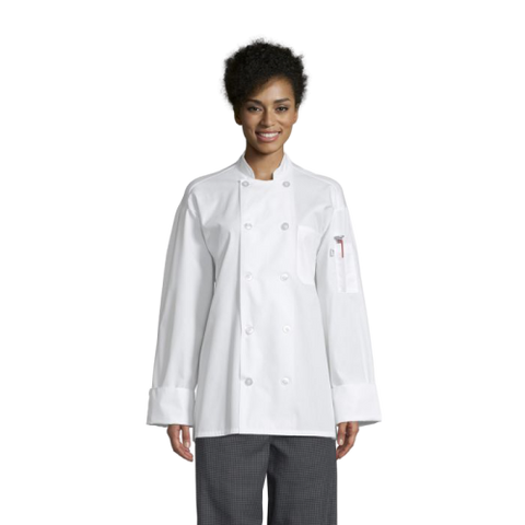 Uncommon Threads Poplin Chef Coat W/Mesh Back Large White Unisex 65/35 Poly/Cotton Poplin